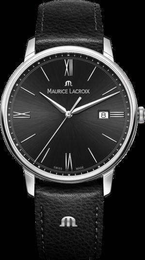 Herrenuhr Maurice Lacroix Eliros Date mit schwarzem Zifferblatt und Kalbsleder-Armband