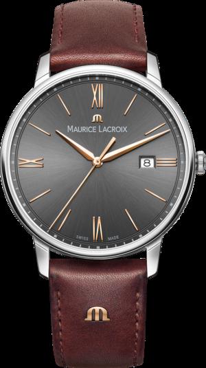 Herrenuhr Maurice Lacroix Eliros Date mit grauem Zifferblatt und Kalbsleder-Armband