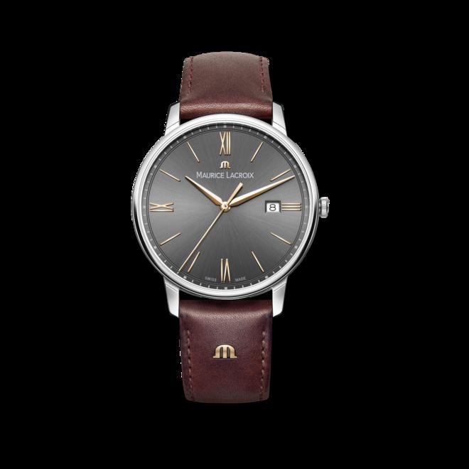 Herrenuhr Maurice Lacroix Eliros Date mit grauem Zifferblatt und Kalbsleder-Armband bei Brogle