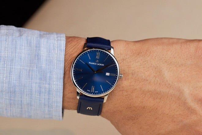 Herrenuhr Maurice Lacroix Eliros Date mit blauem Zifferblatt und Kalbsleder-Armband