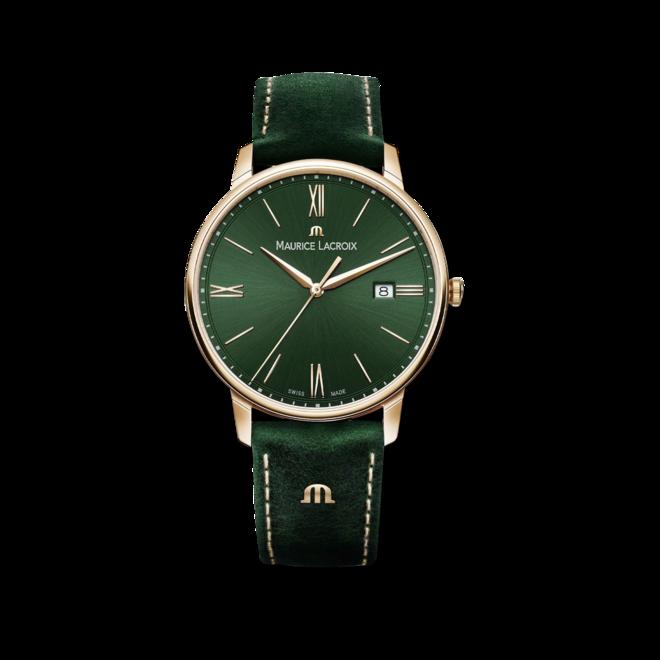 Herrenuhr Maurice Lacroix Eliros Date Green Smoked mit grünem Zifferblatt und Kalbsleder-Armband bei Brogle