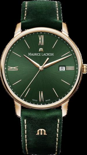 Herrenuhr Maurice Lacroix Eliros Date Green Smoked mit grünem Zifferblatt und Kalbsleder-Armband