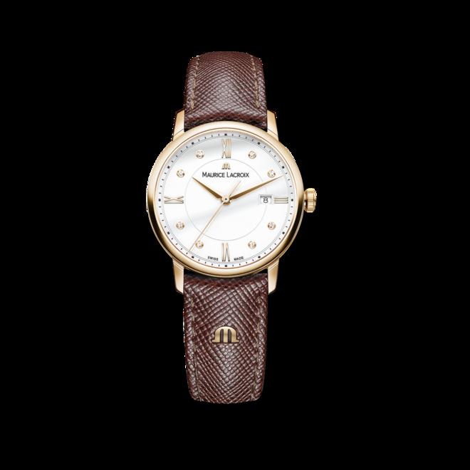 Damenuhr Maurice Lacroix Eliros Date Ladies mit Diamanten, weißem Zifferblatt und Kalbsleder-Armband bei Brogle
