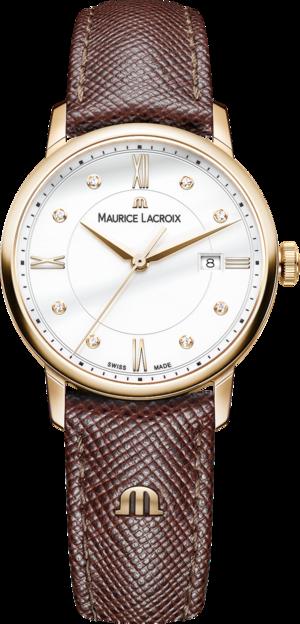 Damenuhr Maurice Lacroix Eliros Date Ladies mit Diamanten, weißem Zifferblatt und Kalbsleder-Armband