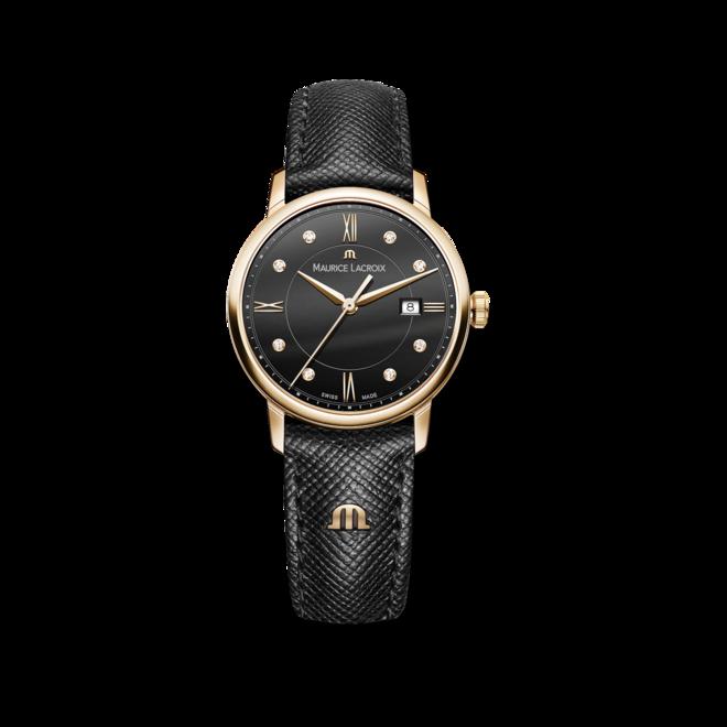 Damenuhr Maurice Lacroix Eliros Date Ladies mit Diamanten, schwarzem Zifferblatt und Kalbsleder-Armband bei Brogle