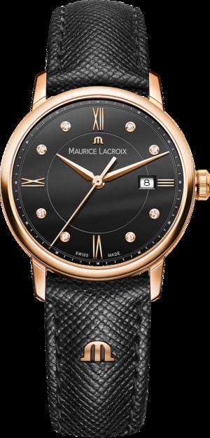 Damenuhr Maurice Lacroix Eliros Date Ladies mit Diamanten, schwarzem Zifferblatt und Kalbsleder-Armband