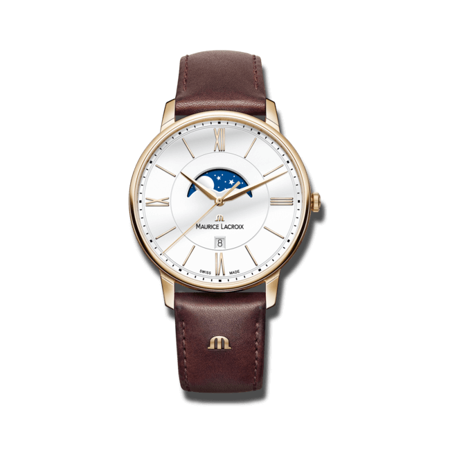 Damenuhr Maurice Lacroix Eliros Moonphase mit weißem Zifferblatt und Kalbsleder-Armband
