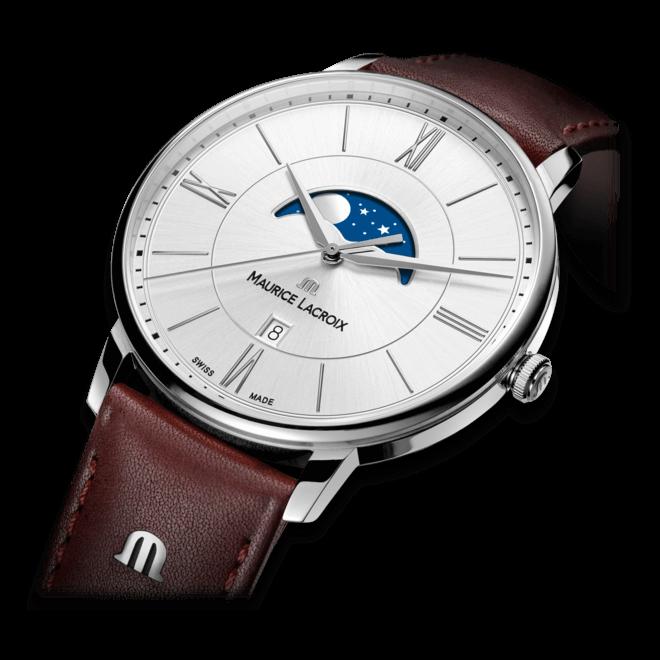 Herrenuhr Maurice Lacroix Eliros Moonphase mit silberfarbenem Zifferblatt und Kalbsleder-Armband