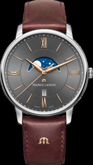Herrenuhr Maurice Lacroix Eliros Moonphase mit schwarzem Zifferblatt und Kalbsleder-Armband