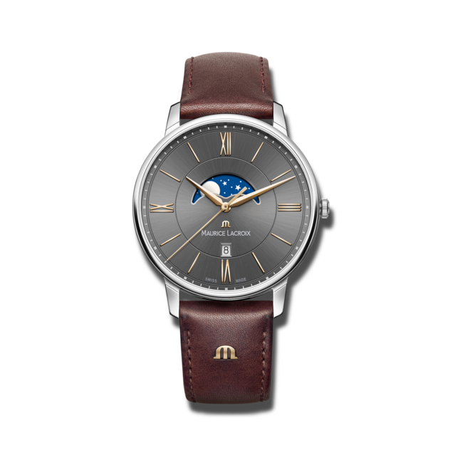 Herrenuhr Maurice Lacroix Eliros Moonphase mit schwarzem Zifferblatt und Kalbsleder-Armband bei Brogle