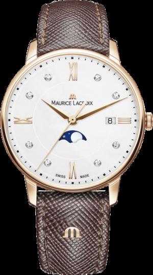 Damenuhr Maurice Lacroix Eliros Moonphase Ladies mit Diamanten, weißem Zifferblatt und Kalbsleder-Armband