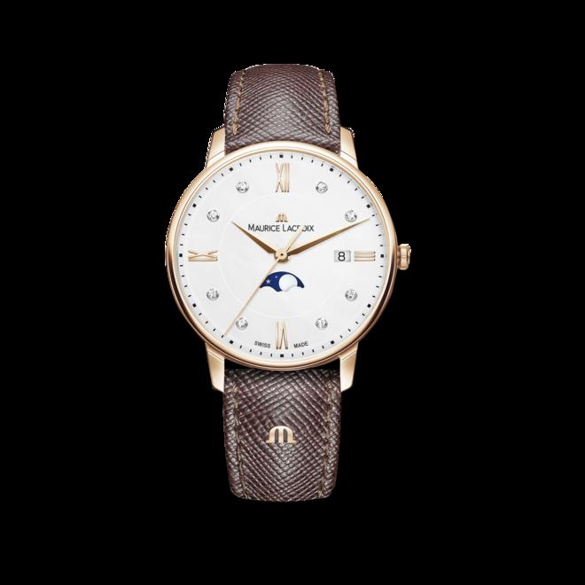 Damenuhr Maurice Lacroix Eliros Moonphase Ladies mit Diamanten, weißem Zifferblatt und Kalbsleder-Armband bei Brogle