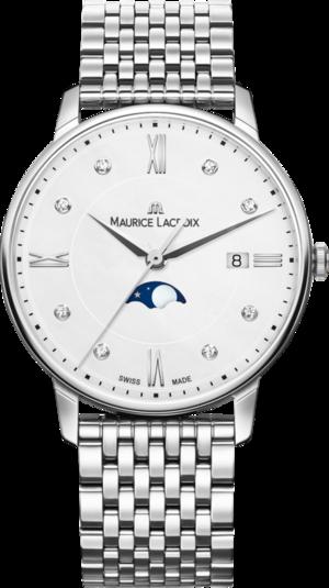 Damenuhr Maurice Lacroix Eliros Moonphase Ladies mit Diamanten, weißem Zifferblatt und Edelstahlarmband