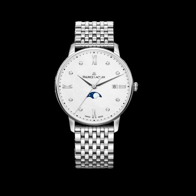 Damenuhr Maurice Lacroix Eliros Moonphase Ladies mit Diamanten, weißem Zifferblatt und Edelstahlarmband bei Brogle