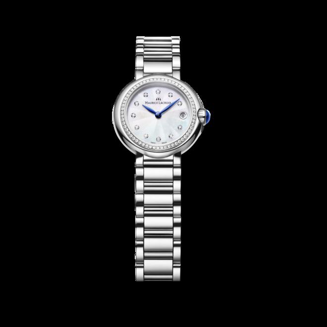 Damenuhr Maurice Lacroix Fiaba 28mm mit Diamanten, weißem Zifferblatt und Edelstahlarmband bei Brogle
