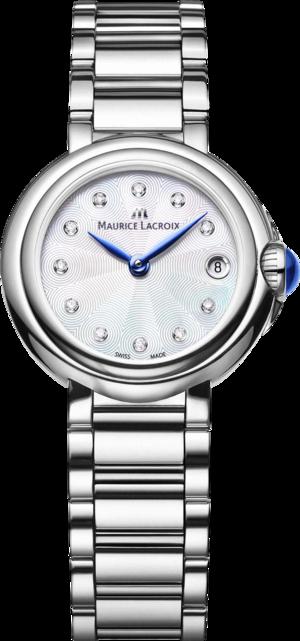 Damenuhr Maurice Lacroix Fiaba 28mm mit Diamanten, weißem Zifferblatt und Edelstahlarmband