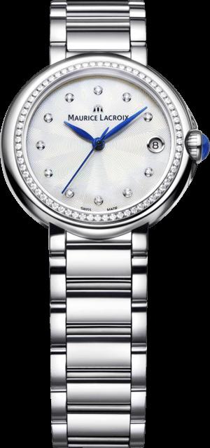 Damenuhr Maurice Lacroix Fiaba 32mm mit Diamanten, weißem Zifferblatt und Edelstahlarmband