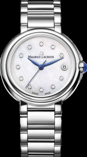 Damenuhr Maurice Lacroix Fiaba 36mm mit Diamanten, silberfarbenem Zifferblatt und Edelstahlarmband