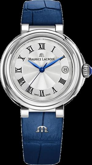 Damenuhr Maurice Lacroix Fiaba Date 36mm mit silberfarbenem Zifferblatt und Armband aus Kalbsleder mit Krokodilprägung