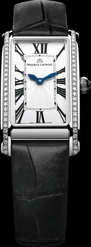 Damenuhr Maurice Lacroix Fiaba Rectangular mit Diamanten, weißem Zifferblatt und Armband aus Kalbsleder mit Krokodilprägung