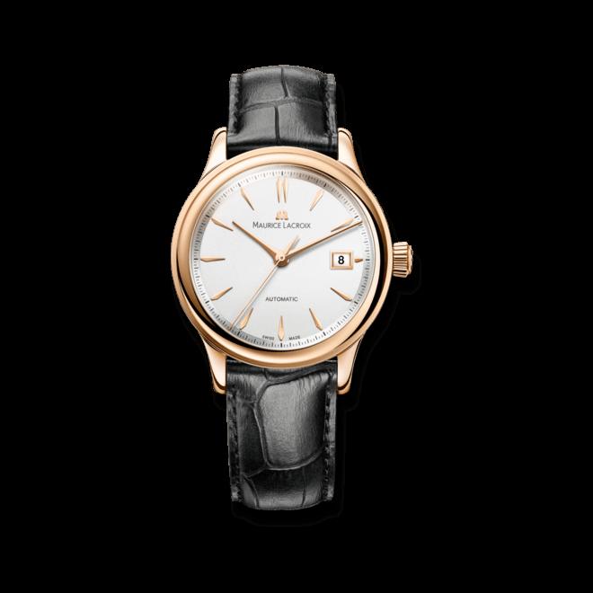 Armbanduhr Maurice Lacroix Les Classiques Date Gold mit silberfarbenem Zifferblatt und Krokodilleder-Armband