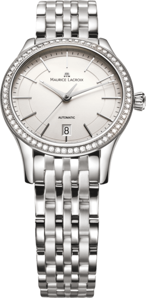 Armbanduhr Maurice Lacroix Les Classiques Date Ladies mit Diamanten, silberfarbenem Zifferblatt und Edelstahlarmband