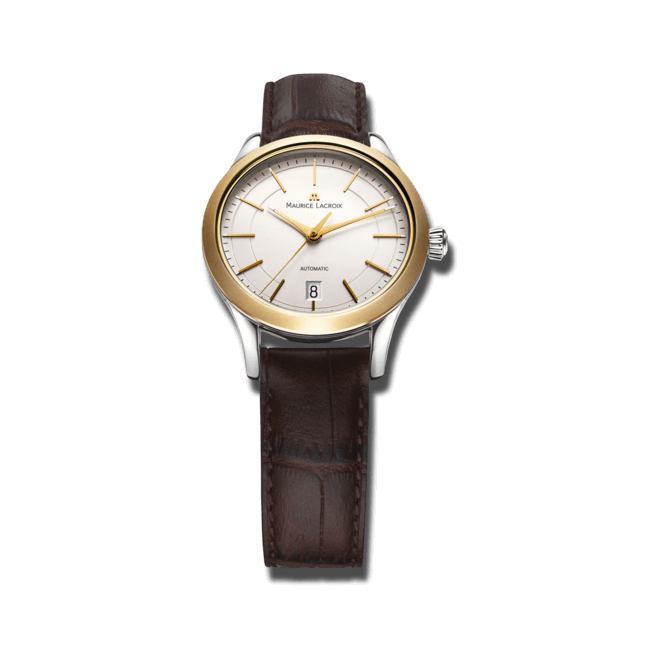 Armbanduhr Maurice Lacroix Les Classiques Date Ladies mit silberfarbenem Zifferblatt und Kalbsleder-Armband