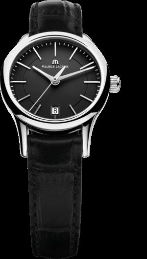 Damenuhr Maurice Lacroix Les Classiques Date Ladies Quartz mit schwarzem Zifferblatt und Kalbsleder-Armband