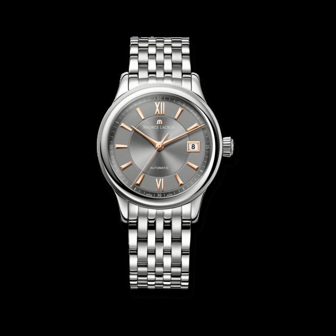 Armbanduhr Maurice Lacroix Les Classiques Date mit schwarzem Zifferblatt und Edelstahlarmband