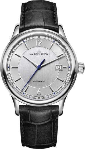 Herrenuhr Maurice Lacroix Les Classiques Date mit silberfarbenem Zifferblatt und Armband aus Kalbsleder mit Krokodilprägung