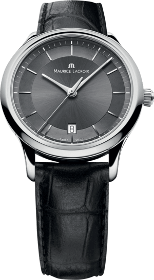 Herrenuhr Maurice Lacroix Les Classiques Date Quartz mit schwarzem Zifferblatt und Armband aus Kalbsleder mit Krokodilprägung