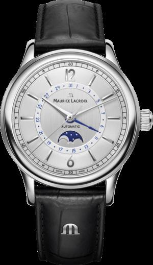 Herrenuhr Maurice Lacroix Les Classiques Moonphase mit silberfarbenem Zifferblatt und Armband aus Kalbsleder mit Krokodilprägung