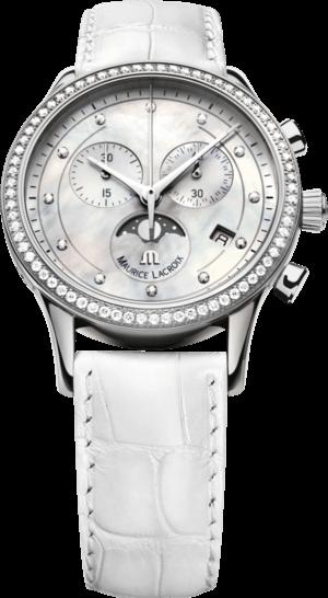 Damenuhr Maurice Lacroix Les Classiques Phases de Lune Chronographe Ladies mit Diamanten, weißem Zifferblatt und Kalbsleder-Armband