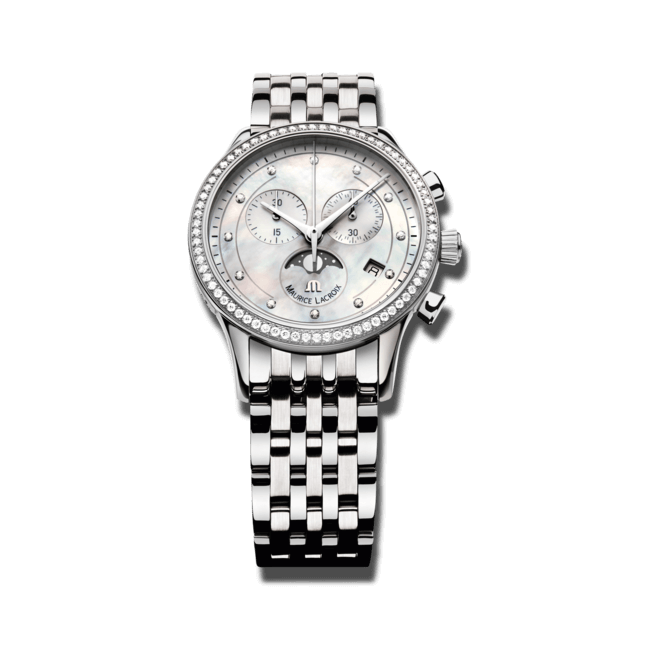 Damenuhr Maurice Lacroix Les Classiques Phases de Lune Chronographe Ladies mit Diamanten, weißem Zifferblatt und Edelstahlarmband