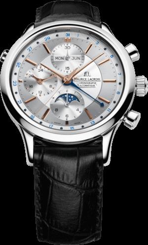 Herrenuhr Maurice Lacroix Les Classiques Phases de Lune Chronographe mit silberfarbenem Zifferblatt und Armband aus Kalbsleder mit Krokodilprägung