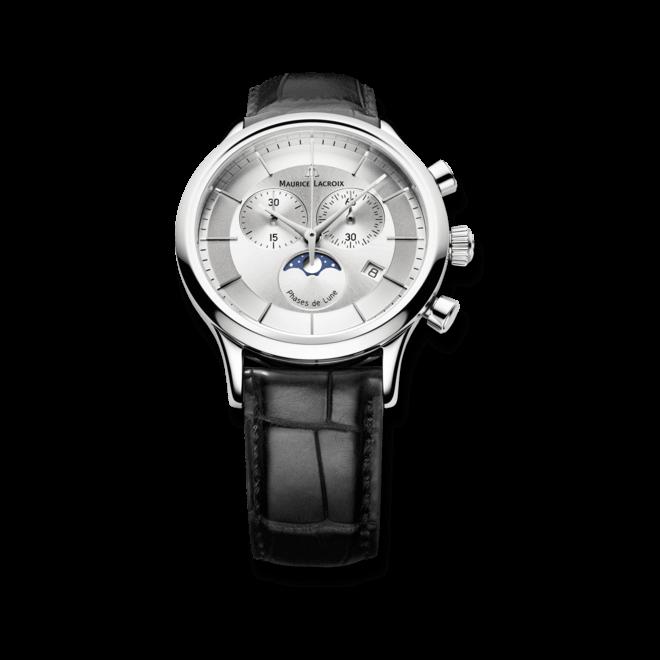 Herrenuhr Maurice Lacroix Les Classiques Phases de Lune Chronographe Quartz mit silberfarbenem Zifferblatt und Kalbsleder-Armband