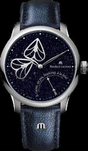 Damenuhr Maurice Lacroix Masterpiece Embrace 40mm mit blauem Zifferblatt und Kalbsleder-Armband
