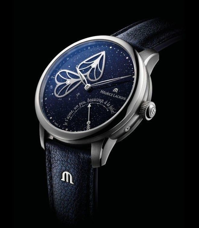 Damenuhr Maurice Lacroix Masterpiece Embrace 40mm mit blauem Zifferblatt und Kalbsleder-Armband bei Brogle
