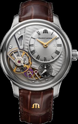 Herrenuhr Maurice Lacroix Masterpiece Gravity 43mm mit silberfarbenem Zifferblatt und Kalbsleder-Armband