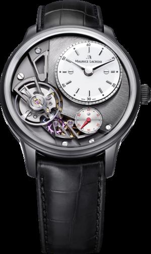 Herrenuhr Maurice Lacroix Masterpiece Gravity mit anthrazitfarbenem Zifferblatt und Krokodilleder-Armband