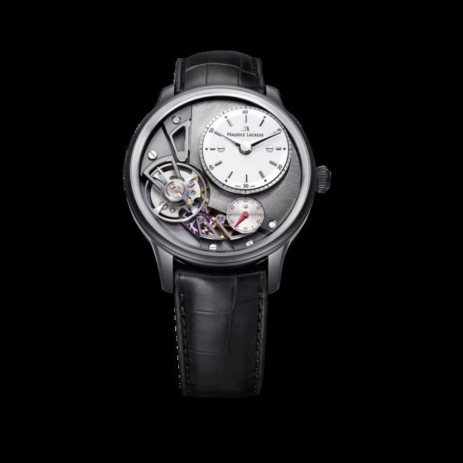 Herrenuhr Maurice Lacroix Masterpiece Gravity mit anthrazitfarbenem Zifferblatt und Krokodilleder-Armband bei Brogle