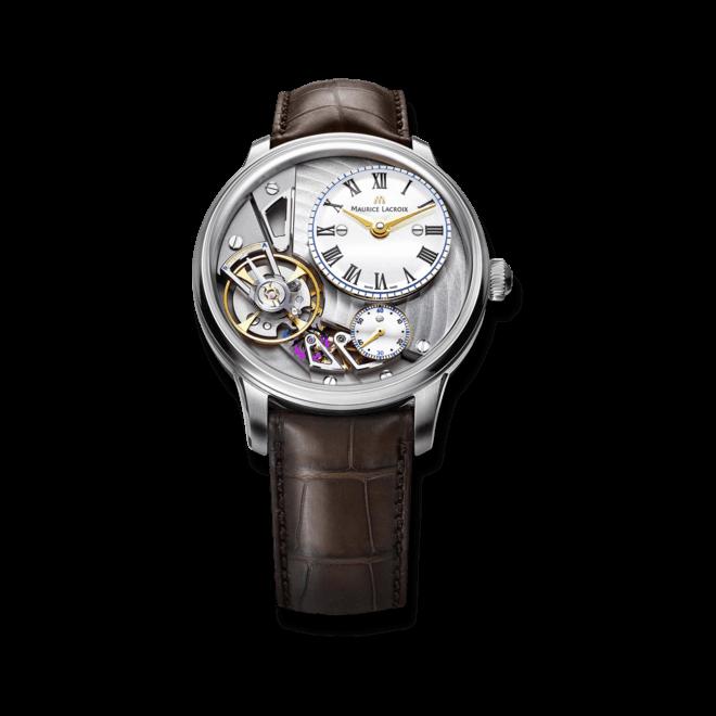 Herrenuhr Maurice Lacroix Masterpiece Gravity mit weißem Zifferblatt und Krokodilleder-Armband