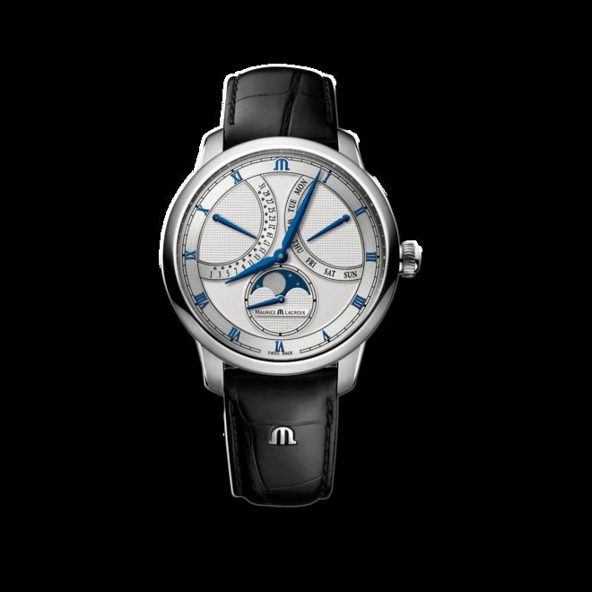 Herrenuhr Maurice Lacroix Masterpiece Moonphase Retrograde mit silberfarbenem Zifferblatt und Kalbsleder-Armband bei Brogle