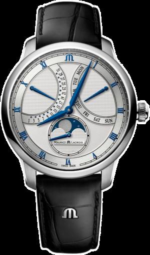 Herrenuhr Maurice Lacroix Masterpiece Moonphase Retrograde mit silberfarbenem Zifferblatt und Kalbsleder-Armband