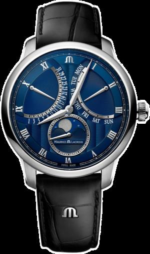 Herrenuhr Maurice Lacroix Masterpiece Moonphase Retrograde mit blauem Zifferblatt und Kalbsleder-Armband
