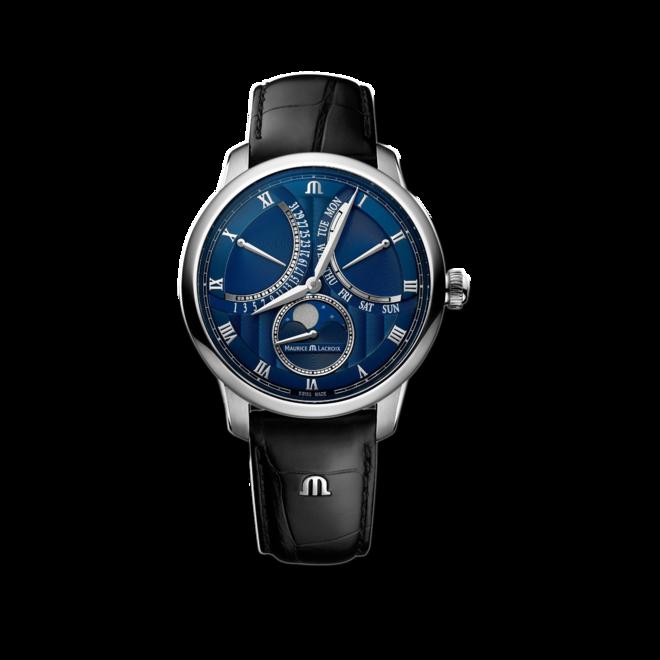 Herrenuhr Maurice Lacroix Masterpiece Moonphase Retrograde mit blauem Zifferblatt und Kalbsleder-Armband bei Brogle