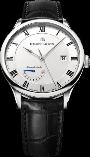 Herrenuhr Maurice Lacroix Masterpiece Réserve de Marche mit weißem Zifferblatt und Krokodilleder-Armband