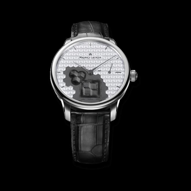 Herrenuhr Maurice Lacroix Masterpiece Square Wheel Cube mit silberfarbenem Zifferblatt und Krokodilleder-Armband