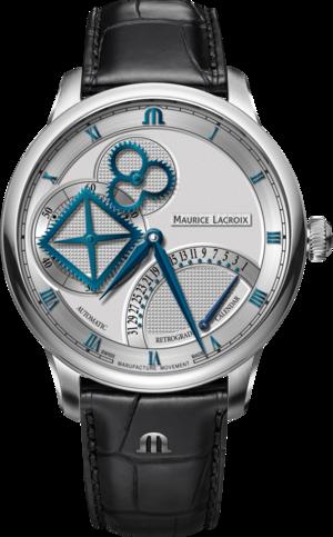Herrenuhr Maurice Lacroix Masterpiece Square Wheel Retrograde mit silberfarbenem Zifferblatt und Alligatorenleder-Armband
