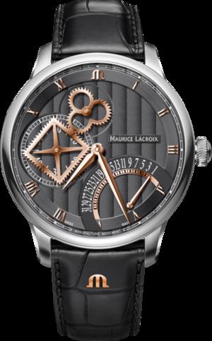 Herrenuhr Maurice Lacroix Masterpiece Square Wheel Retrograde mit anthrazitfarbenem Zifferblatt und Alligatorenleder-Armband